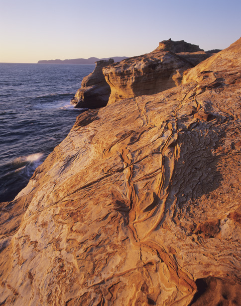 Sandstone texture in evening, Cape Kiwanda, Coast, OR
