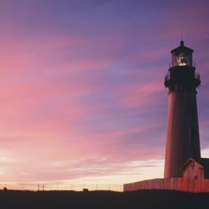 Yaquina Head Lighthouse at sunset, Oregon Coast
