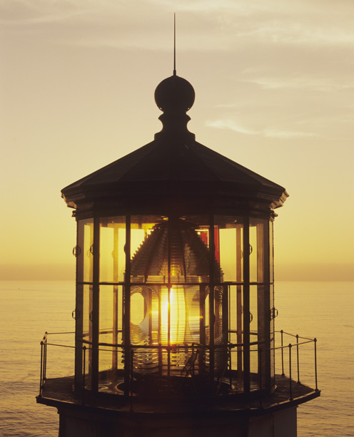Cape Meares Lighthouse at sunset, Coast, OR